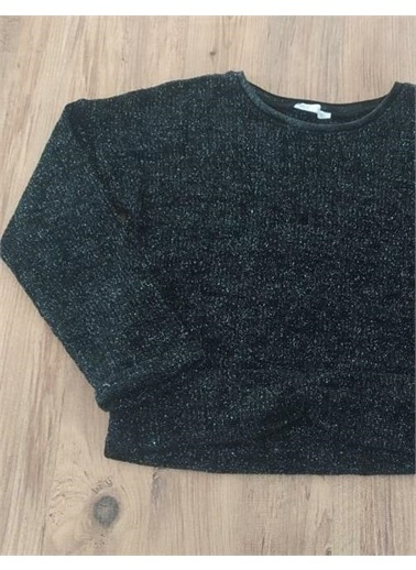 Riccotarz Kız Çocuk Simli Siyah Kalın Sweatshirt Siyah